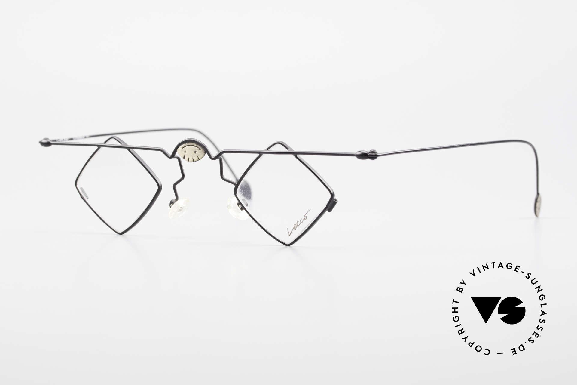 Locco 08 Gute Laune Vintage Brille 90er, gute Laune Brille mit Smileys auf Brücke und Bügeln, Passend für Herren und Damen