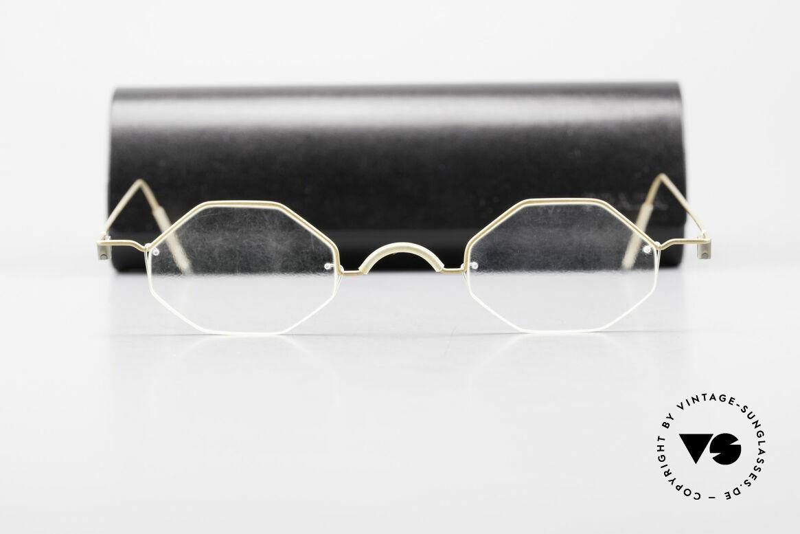 Markus T Achteckige Kenner Brille 90er, eleganter Rahmen ohne Schrauben, Nieten od. Lötungen, Passend für Herren und Damen