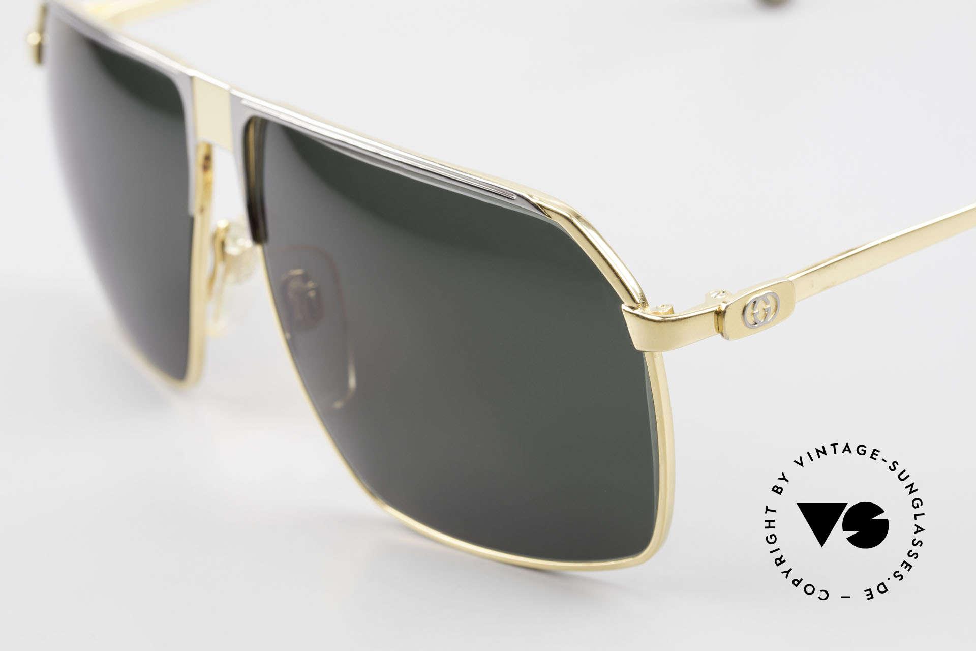 Gucci GG41 22Kt Vergoldete Sonnenbrille, Bügel mit dem berühmten Symbol (die zwei Steigbügel), Passend für Herren