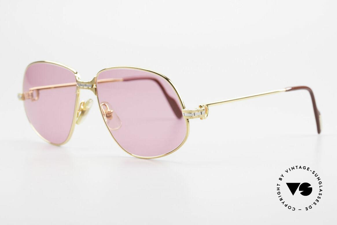 Cartier Panthere G.M. - M Pinke Brille mit Chanel Etui, teure Luxus-Sonnenbrille in MEDIUM Größe 56-14, 135, Passend für Herren und Damen