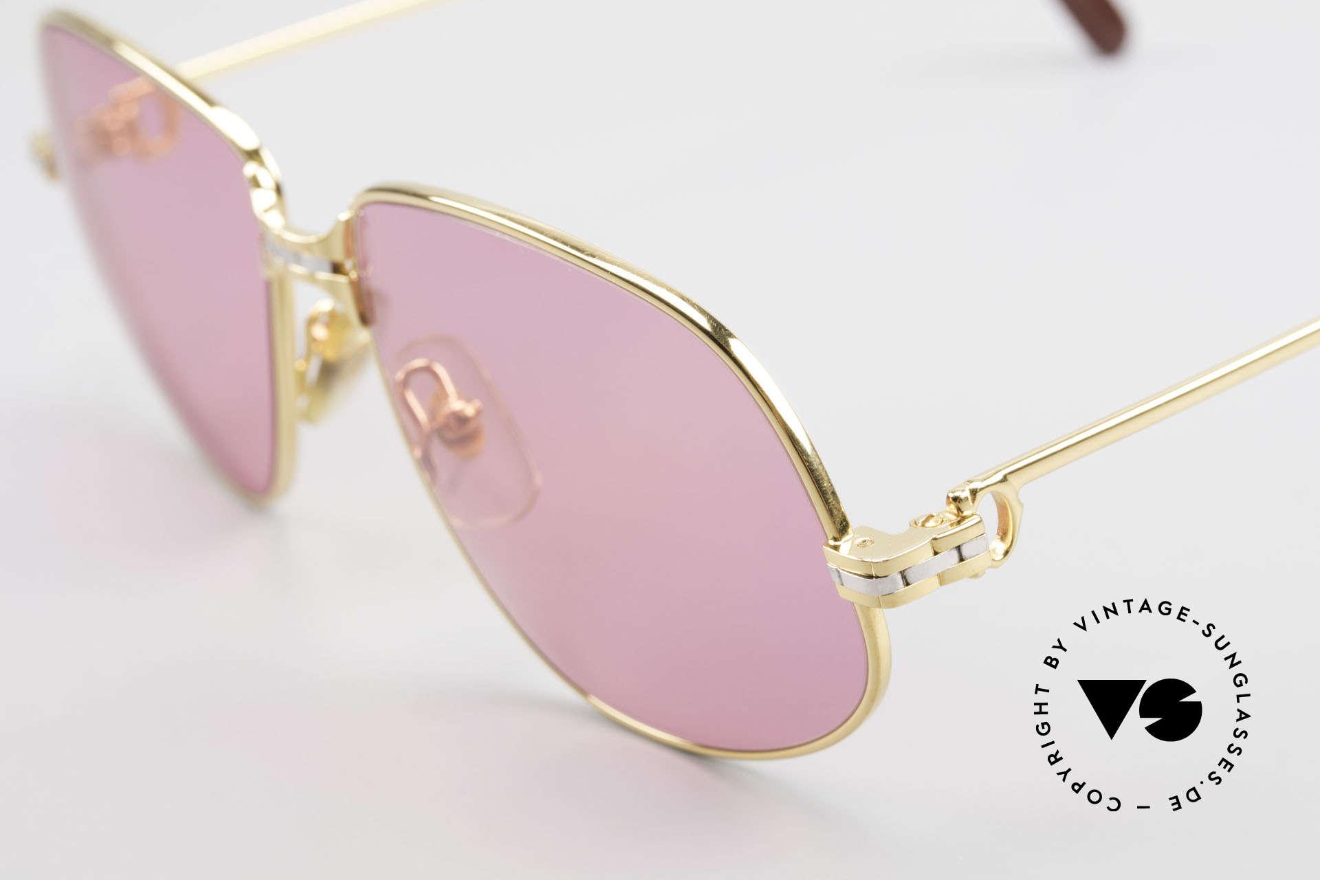 Cartier Panthere G.M. - M Pinke Brille mit Chanel Etui, 22kt vergoldete Fassung mit neuen pinken Sonnengläsern, Passend für Herren und Damen
