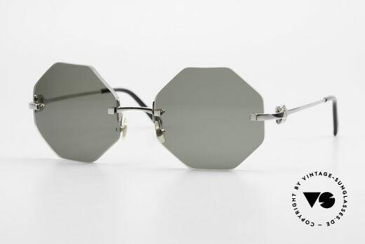 Cartier Rimless Octag Achteckige Luxus Sonnenbrille Details