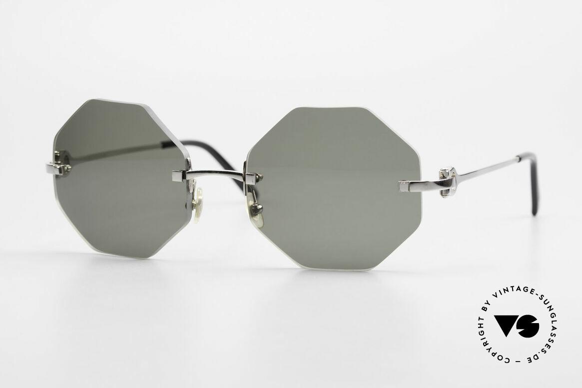 Cartier Rimless Octag Achteckige Luxus Sonnenbrille, achteckige CARTIER Luxus-Sonnenbrille von 1999, Passend für Herren und Damen