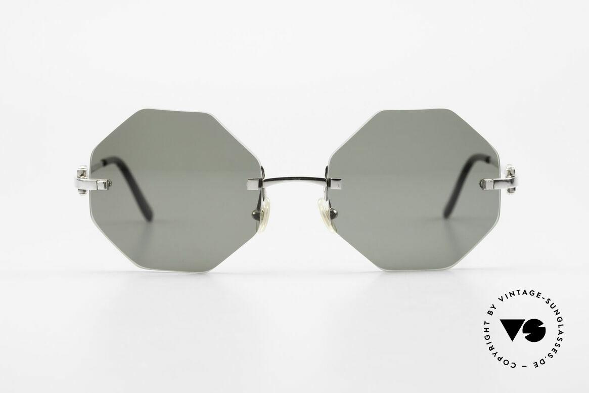 Cartier Rimless Octag Achteckige Luxus Sonnenbrille, Modell aus der Rimless Serie mit 'OCTAG' Gläsern, Passend für Herren und Damen