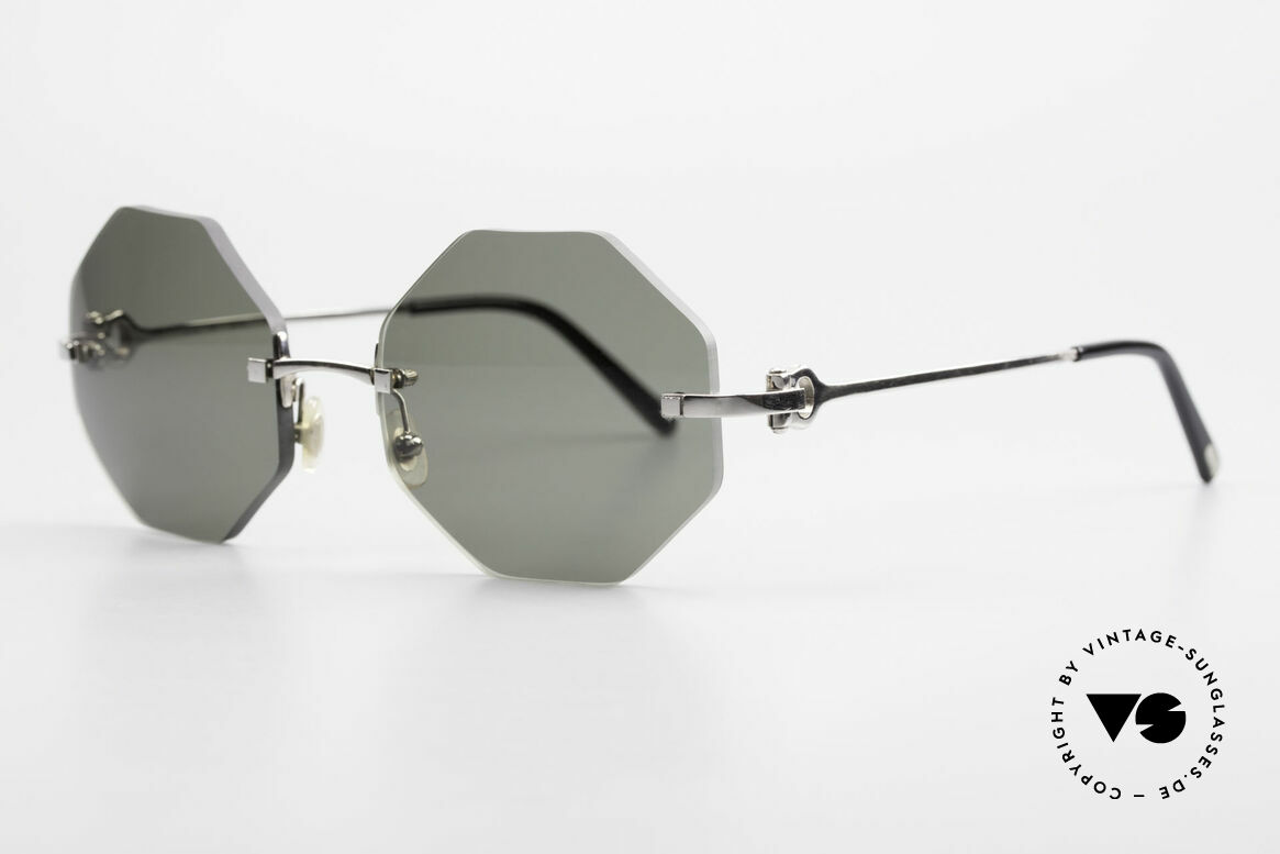 Cartier Rimless Octag Achteckige Luxus Sonnenbrille, teures ORIGINAL in Medium Größe (135mm Breite), Passend für Herren und Damen