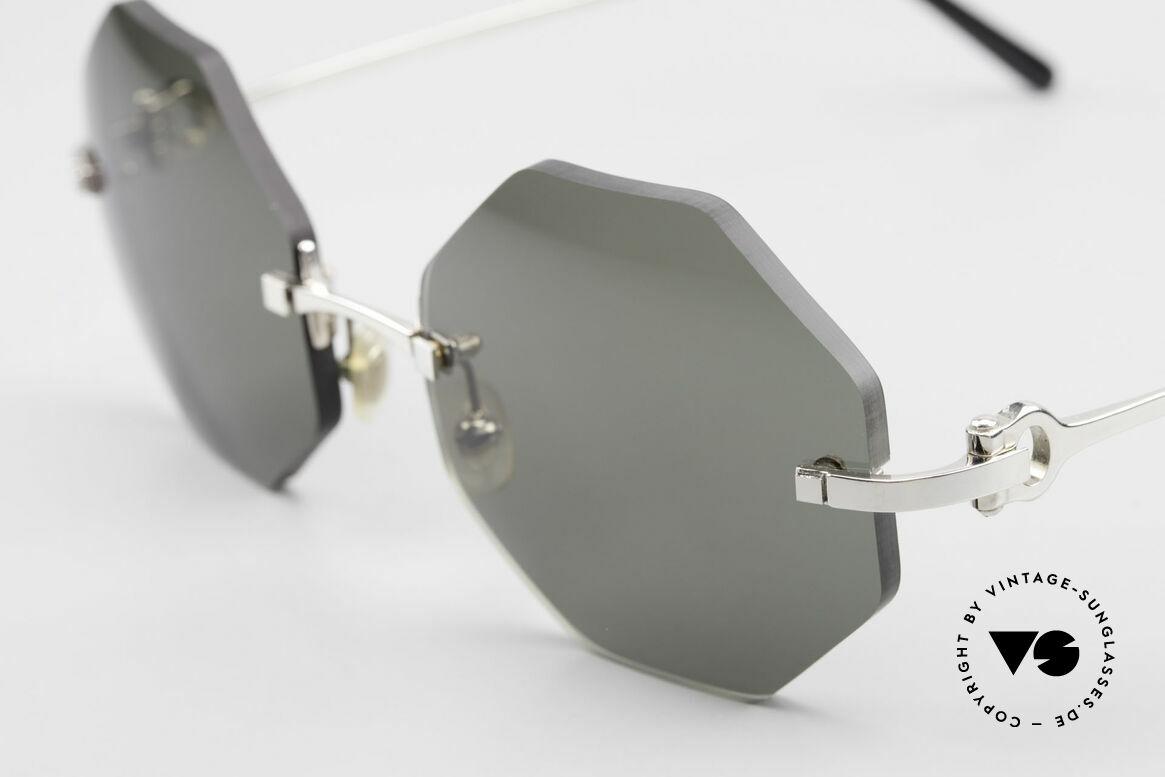 Cartier Rimless Octag Achteckige Luxus Sonnenbrille, 2. hand Modell im neuwertigen Zustand + orig. Etui, Passend für Herren und Damen