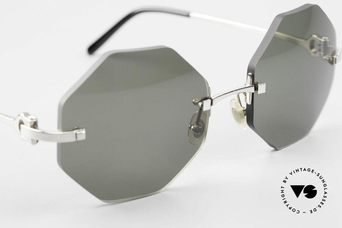 Cartier Rimless Octag Achteckige Luxus Sonnenbrille, neue CR39 Gläser in grau-grün G15; 100% UV Schutz, Passend für Herren und Damen