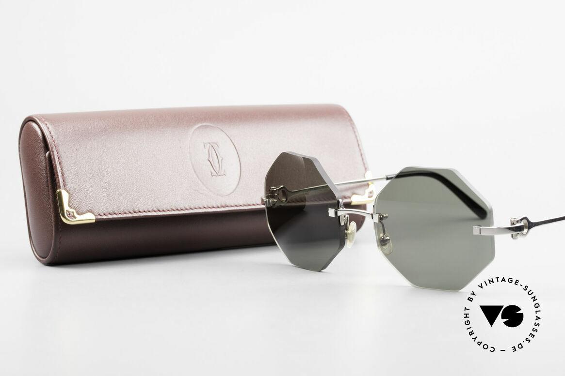 Cartier Rimless Octag Achteckige Luxus Sonnenbrille, Größe: medium, Passend für Herren und Damen