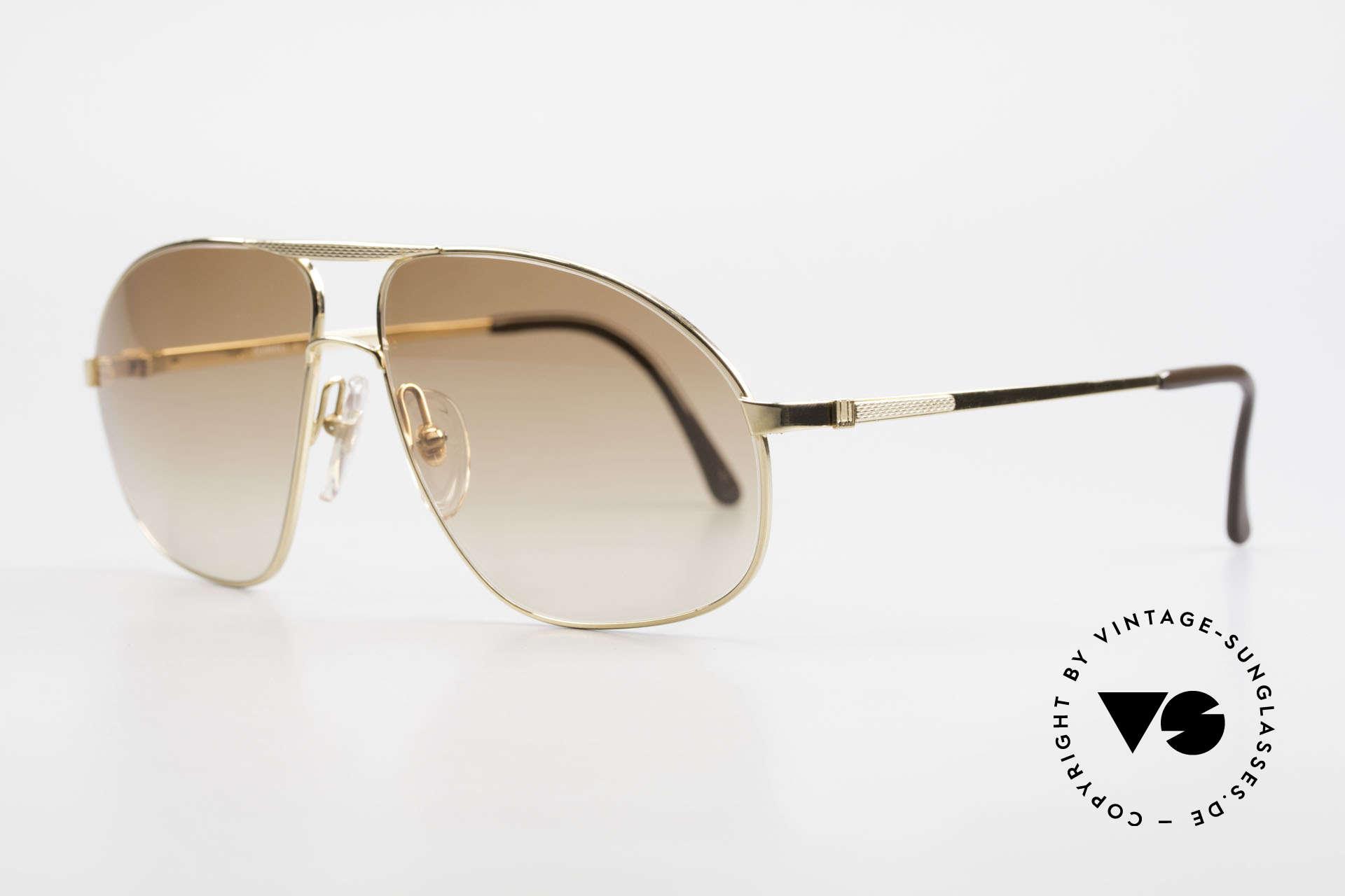 Dunhill 6125 Vergoldete Piloten Brille 90er, Fassung ist hart-vergoldet und mit Barley-Facetten, Passend für Herren