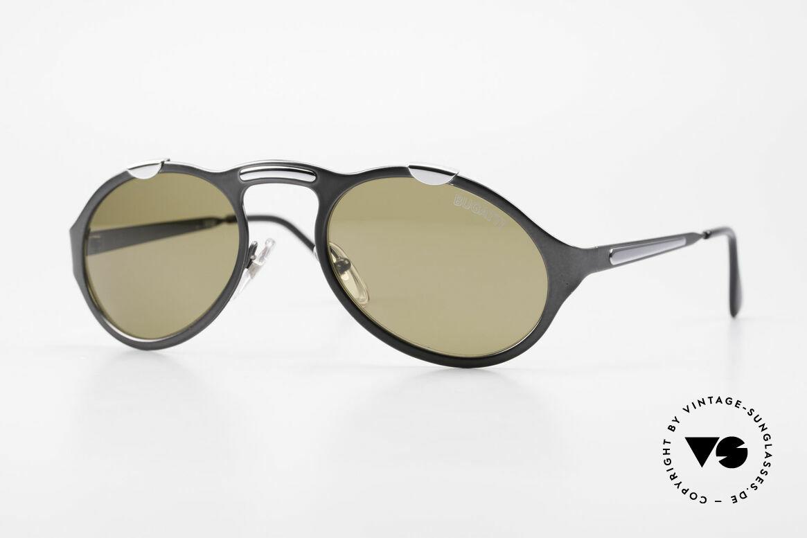 Bugatti 13152 Limited Luxus Vintage Sonnenbrille, elegante BUGATTI vintage Sonnenbrille in grau-metallic, Passend für Herren