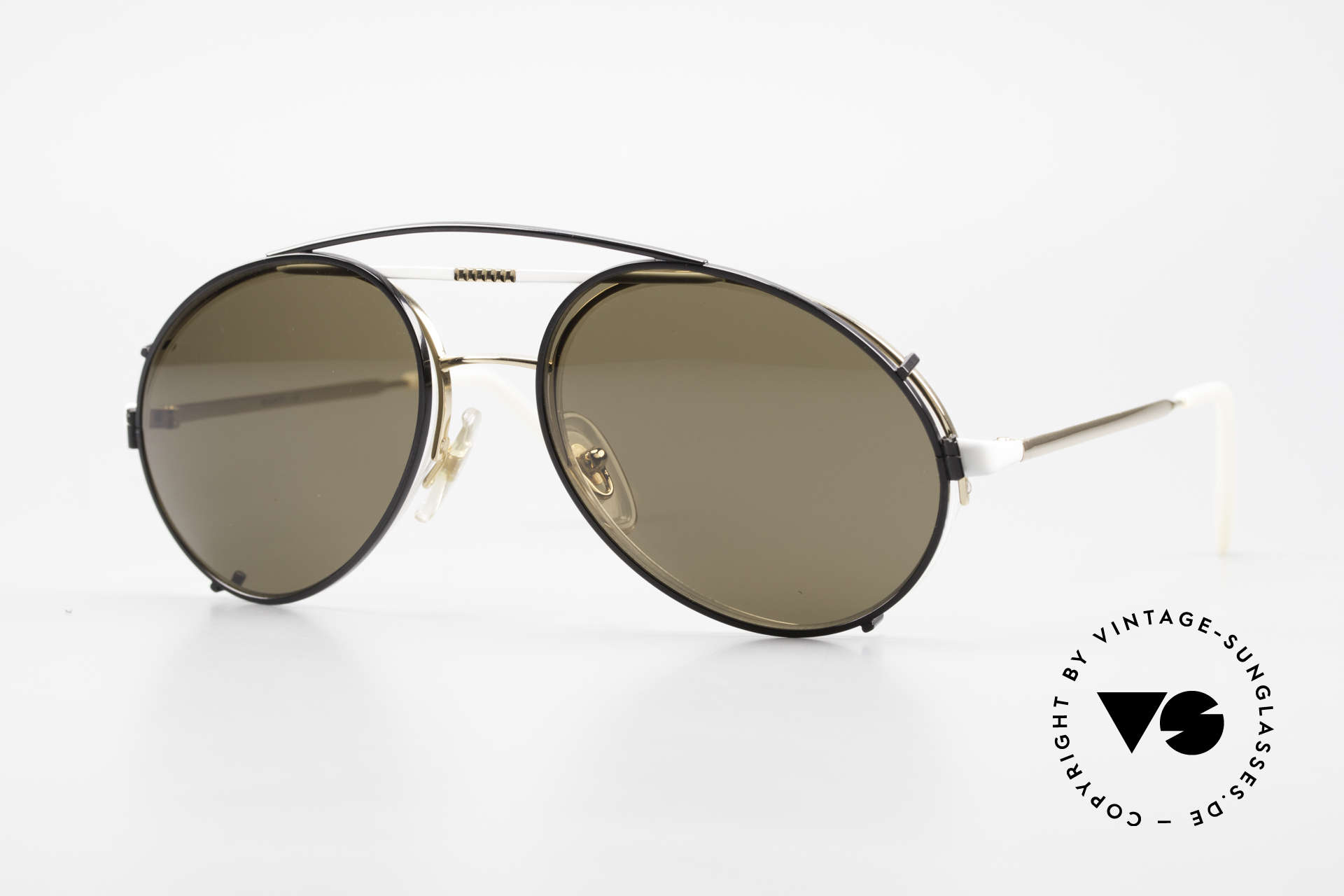 Bugatti 65787 Halb Randlose Brille Mit Clip, sehr elegante vintage Sonnenbrille von Bugatti, Passend für Herren