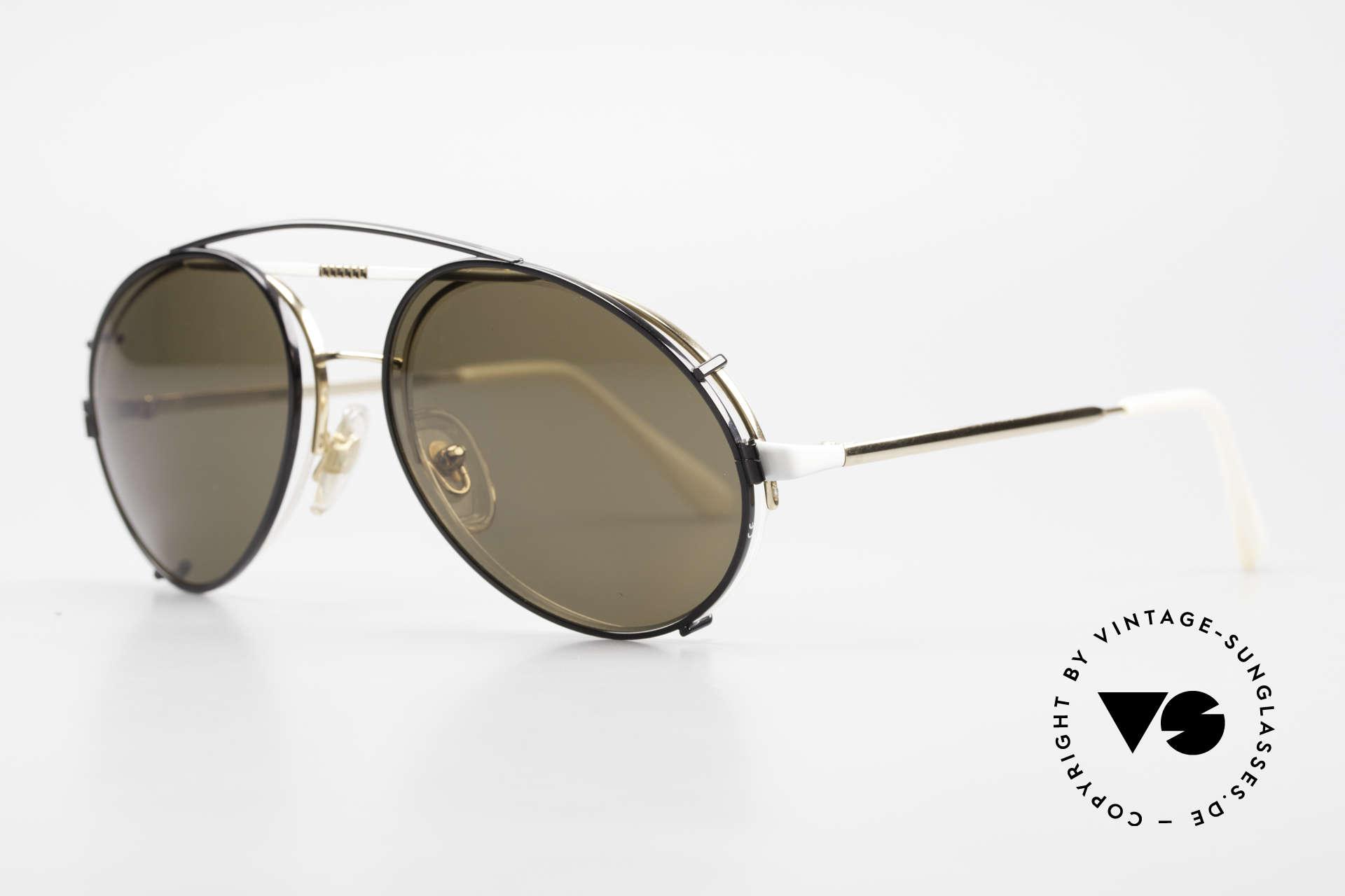Bugatti 65787 Halb Randlose Brille Mit Clip, weiß-goldener Rahmen mit schwarzem Clip-On, Passend für Herren