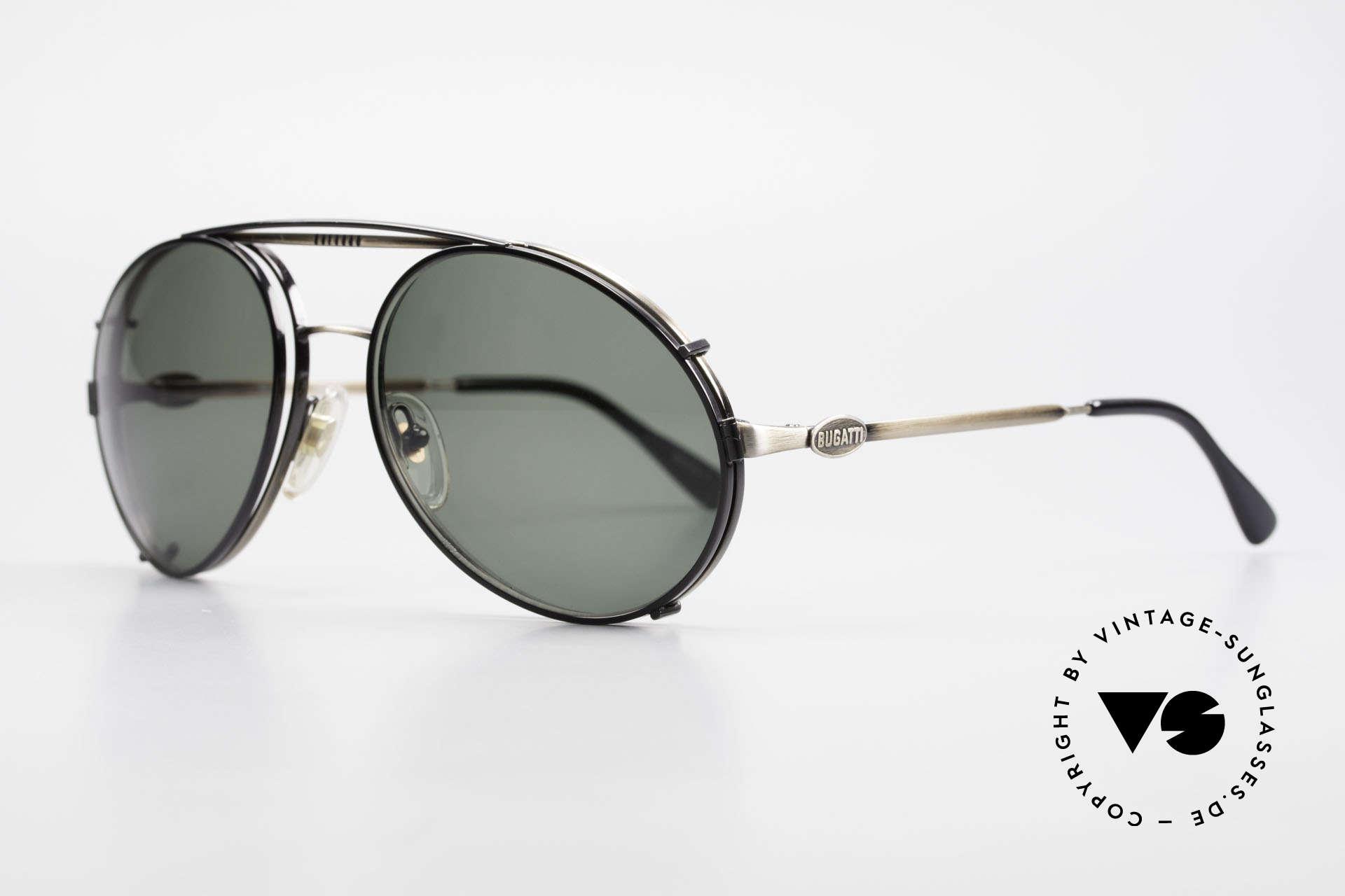 Bugatti 65282 Vintage Herren Brille 1980er, VINTAGE Gestell mit praktischem Sonnen-Clip, Passend für Herren