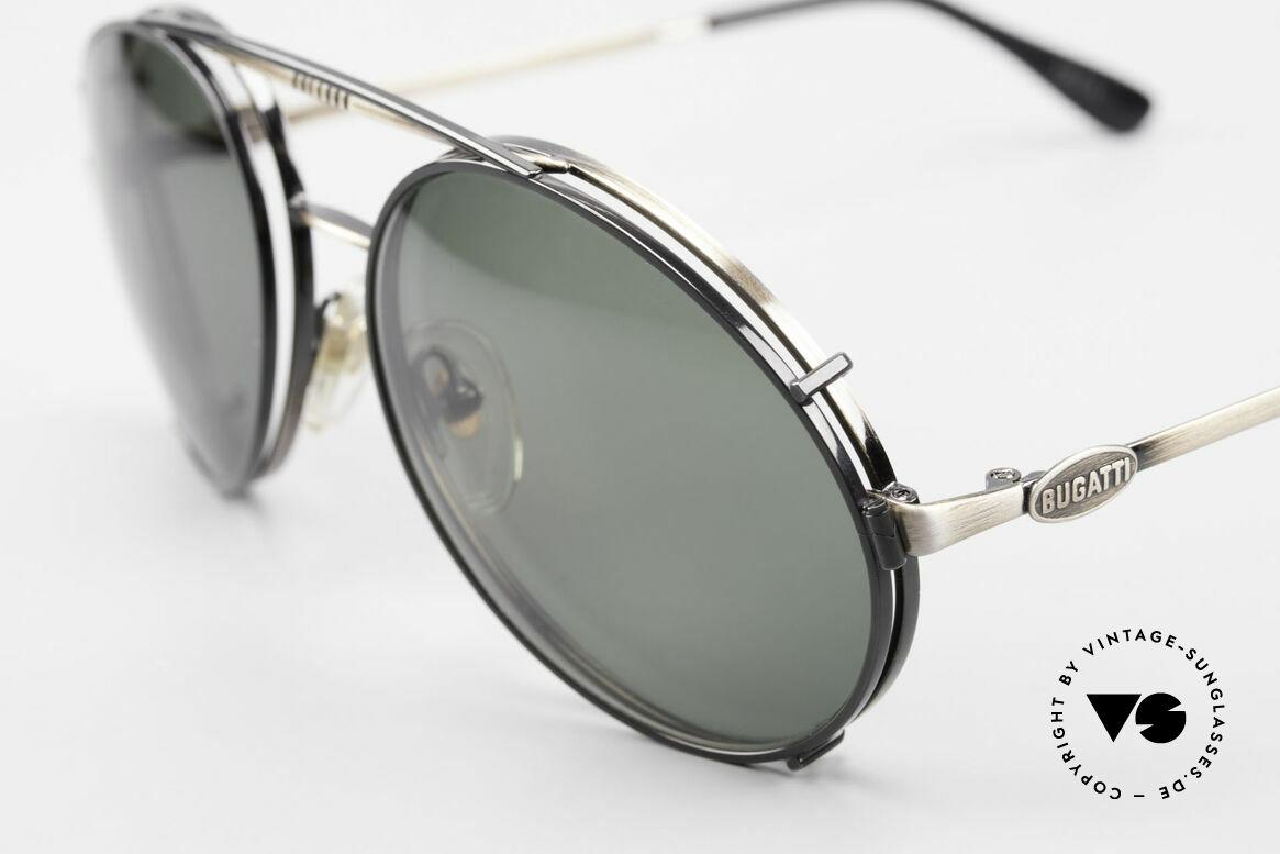 Bugatti 65282 Vintage Herren Brille 1980er, seltene Fassung (anthrazit/antik metall), Gr. 56, Passend für Herren