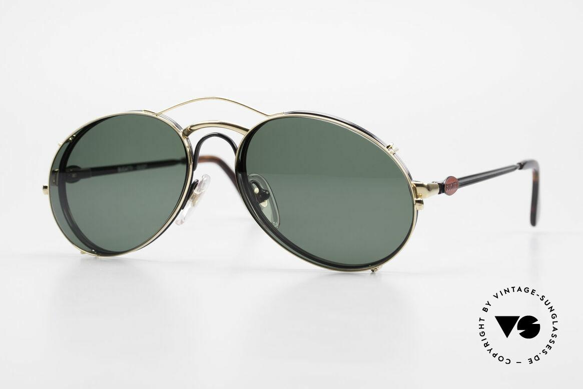 Bugatti 03327 80er Sonnenbrille Mit Clip On, klassische BUGATTI vintage Sonnenbrille von 1989, Passend für Herren