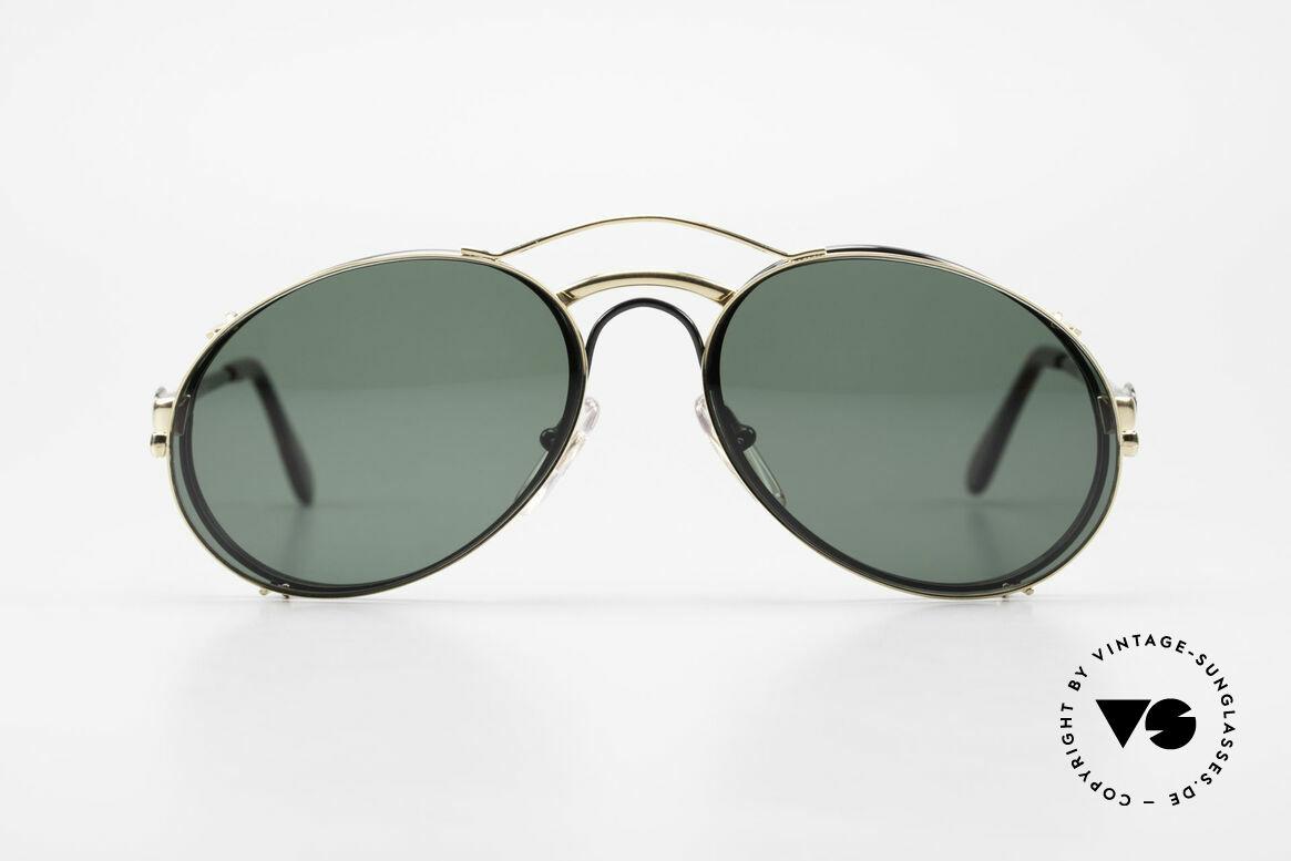 Bugatti 03327 80er Sonnenbrille Mit Clip On, legendäre Bugatti Herren(Tropfen)-Form in Gr. 50mm, Passend für Herren