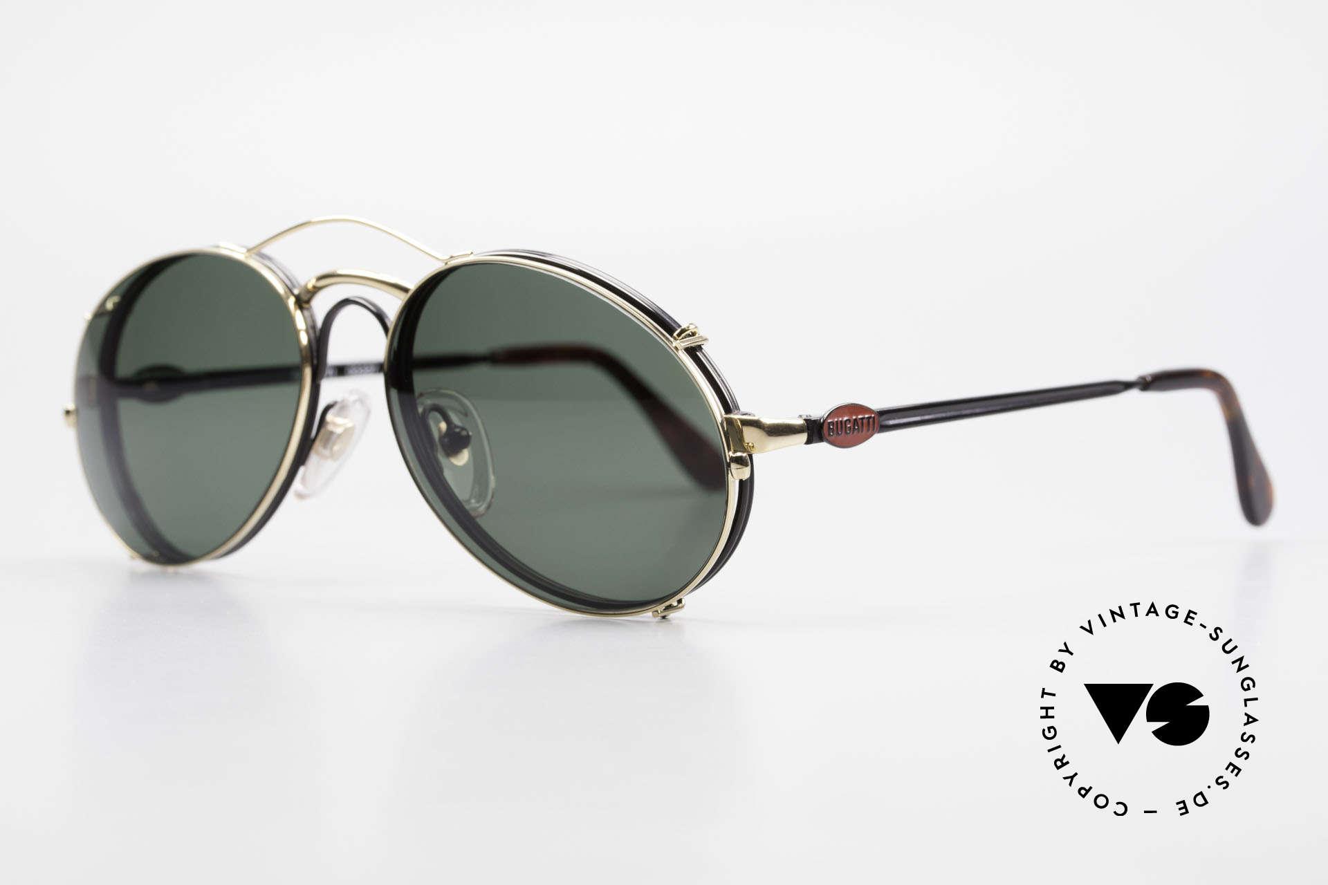 Bugatti 03327 80er Sonnenbrille Mit Clip On, Rahmen mit Federscharnieren für optimalen Komfort, Passend für Herren