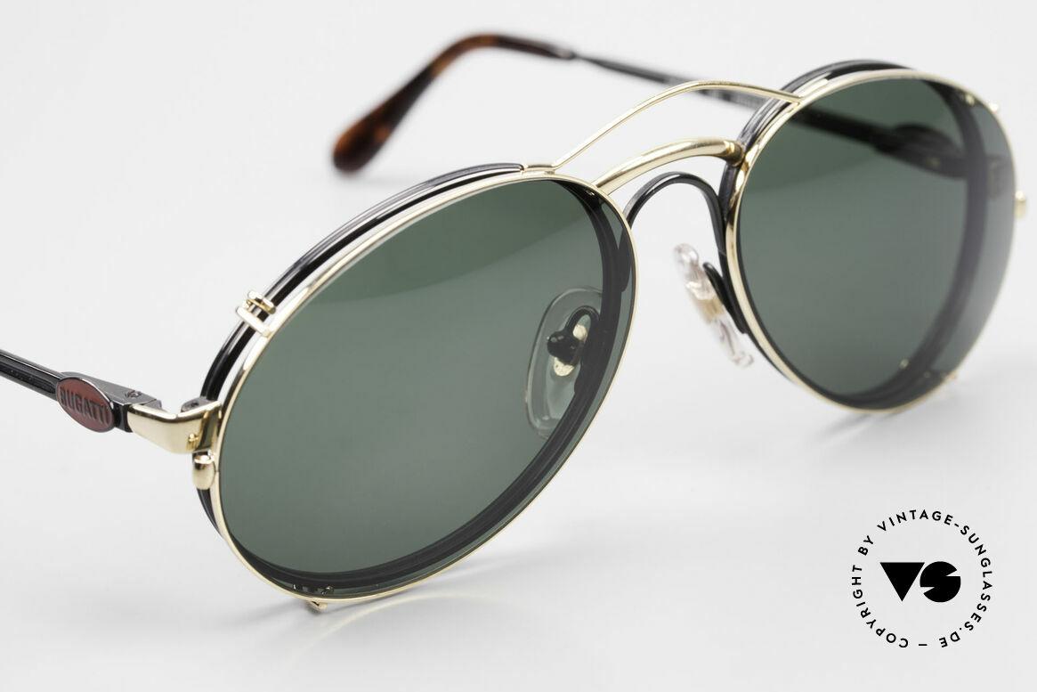 Bugatti 03327 80er Sonnenbrille Mit Clip On, ungetragen (wie alle unsere vintage Bugatti Modelle), Passend für Herren
