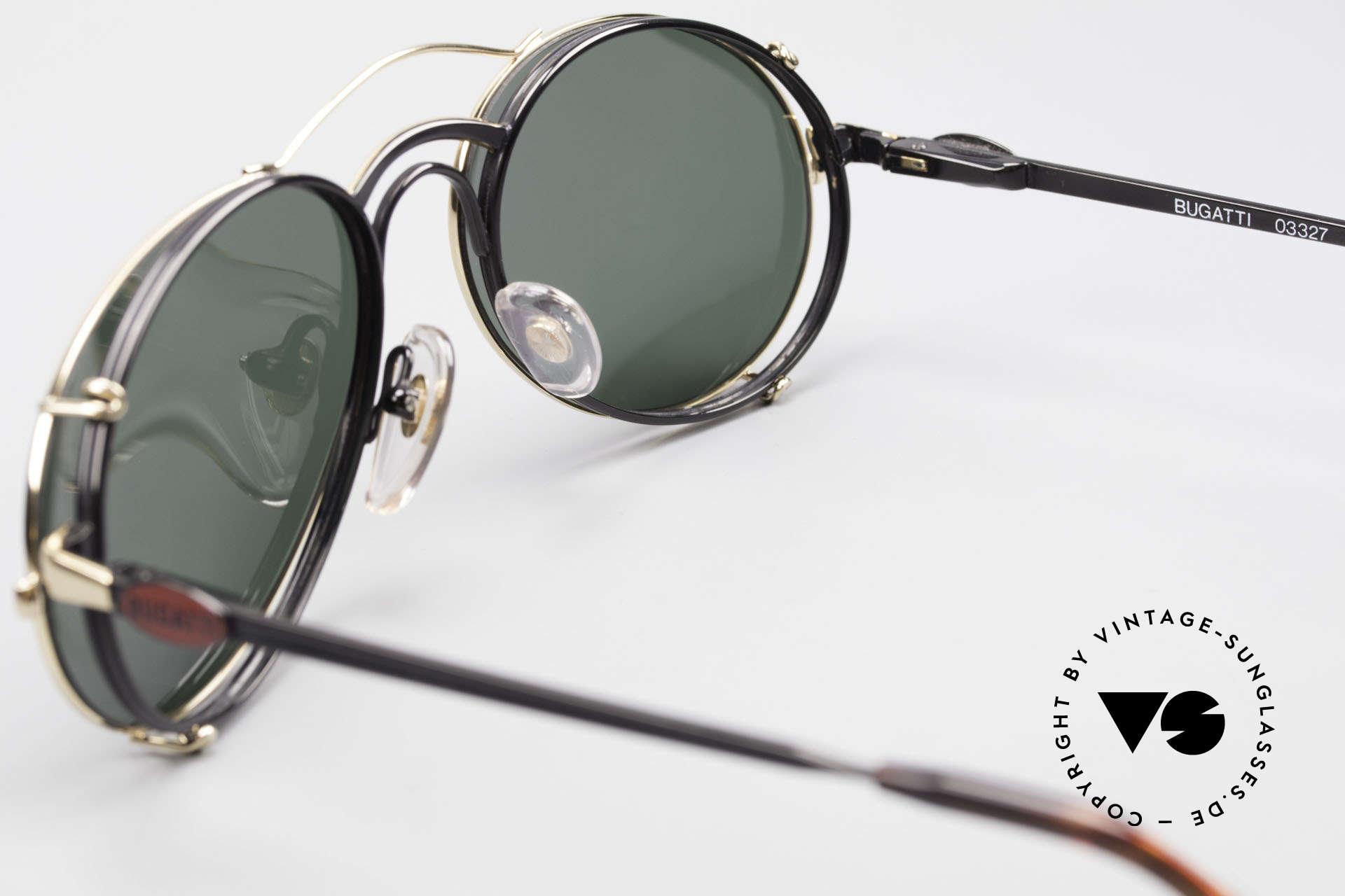 Bugatti 03327 80er Sonnenbrille Mit Clip On, KEINE RETROmode; sondern ein altes 80er ORIGINAL, Passend für Herren