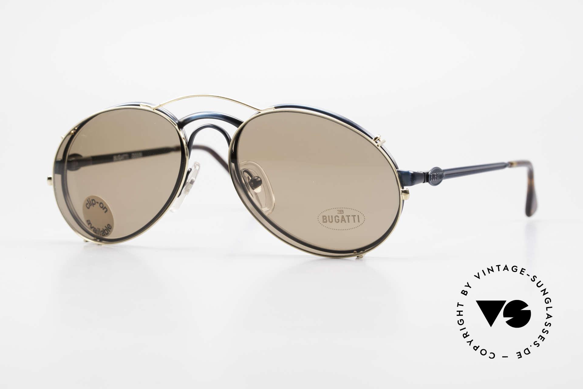 Bugatti 03328 Clip On Herrensonnenbrille, klassische BUGATTI vintage Sonnenbrille von 1989, Passend für Herren