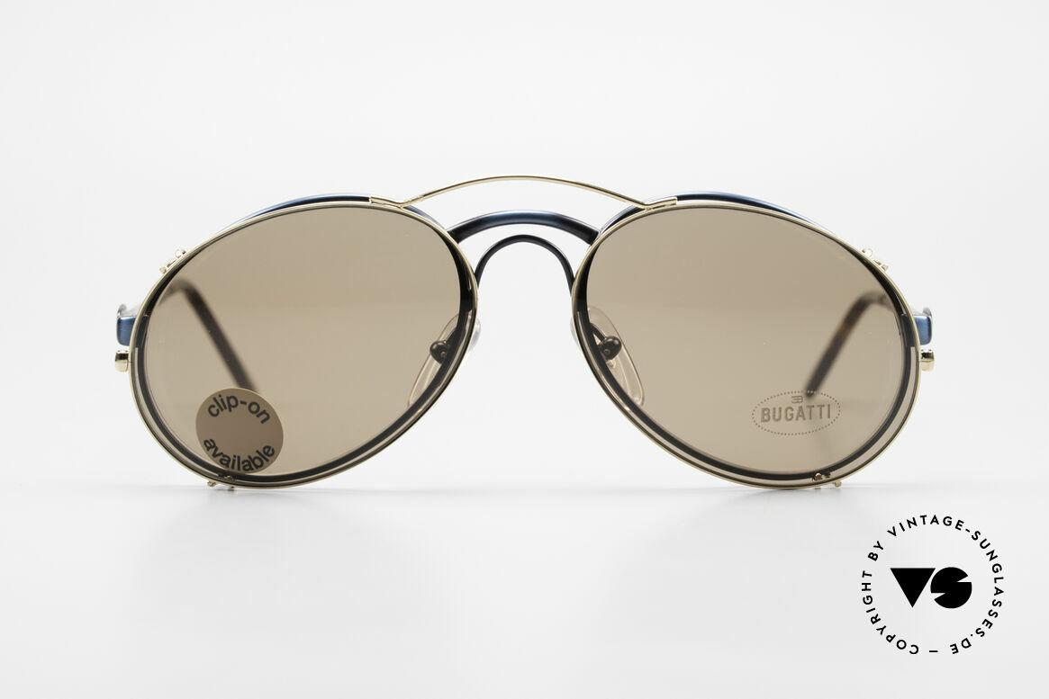 Bugatti 03328 Clip On Herrensonnenbrille, legendäre Bugatti Herren(Tropfen)-Form in Gr. 50mm, Passend für Herren