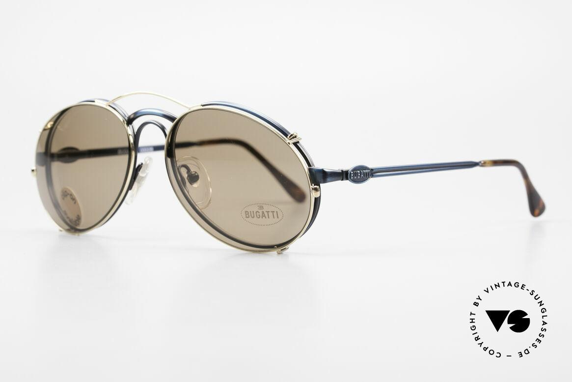 """Bugatti 03328 Clip On Herrensonnenbrille, Rahmen in """"antik blau"""" und Clip in GOLD; sehr edel!, Passend für Herren"""