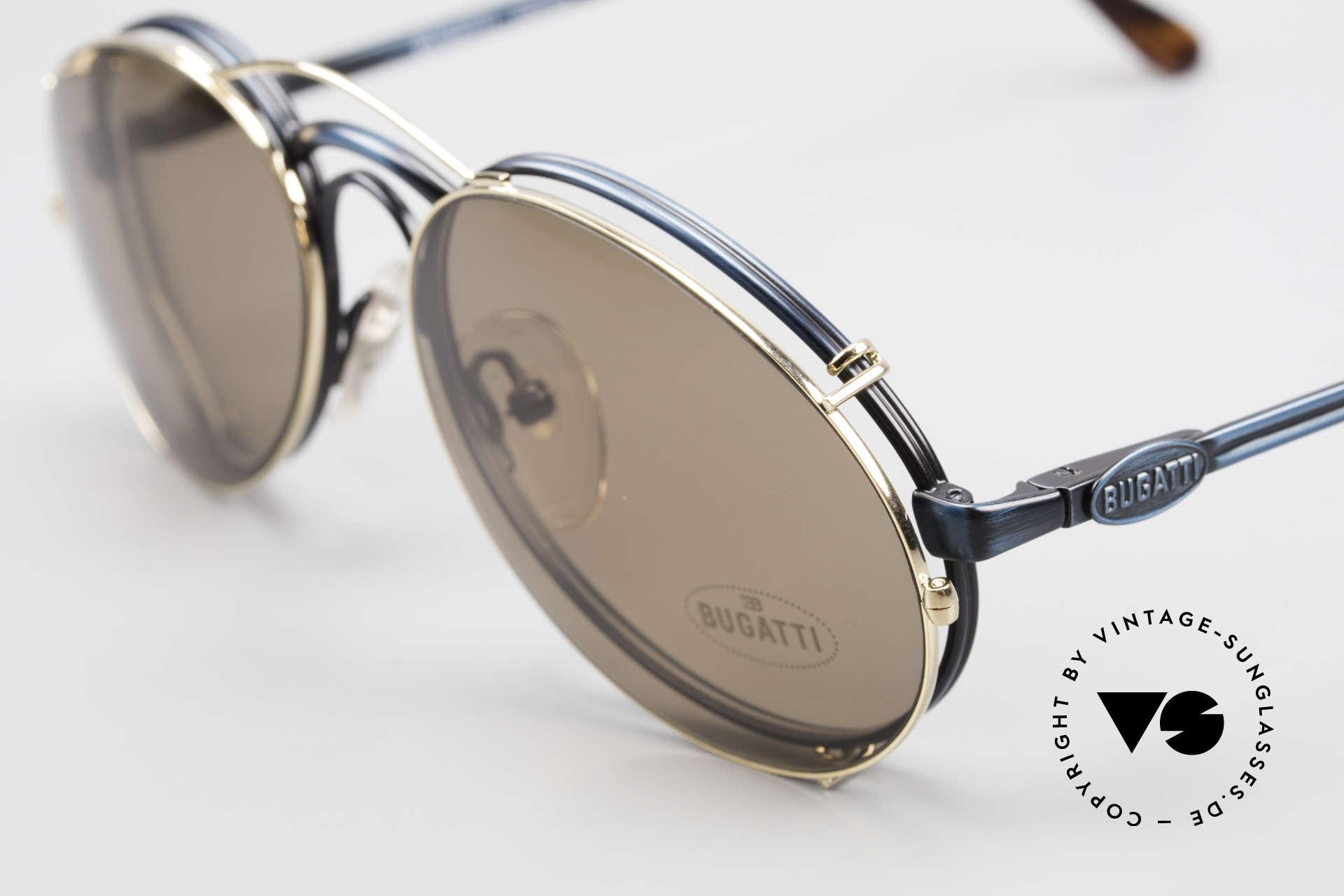 Bugatti 03328 Clip On Herrensonnenbrille, ungetragen (wie alle unsere vintage Bugatti Modelle), Passend für Herren