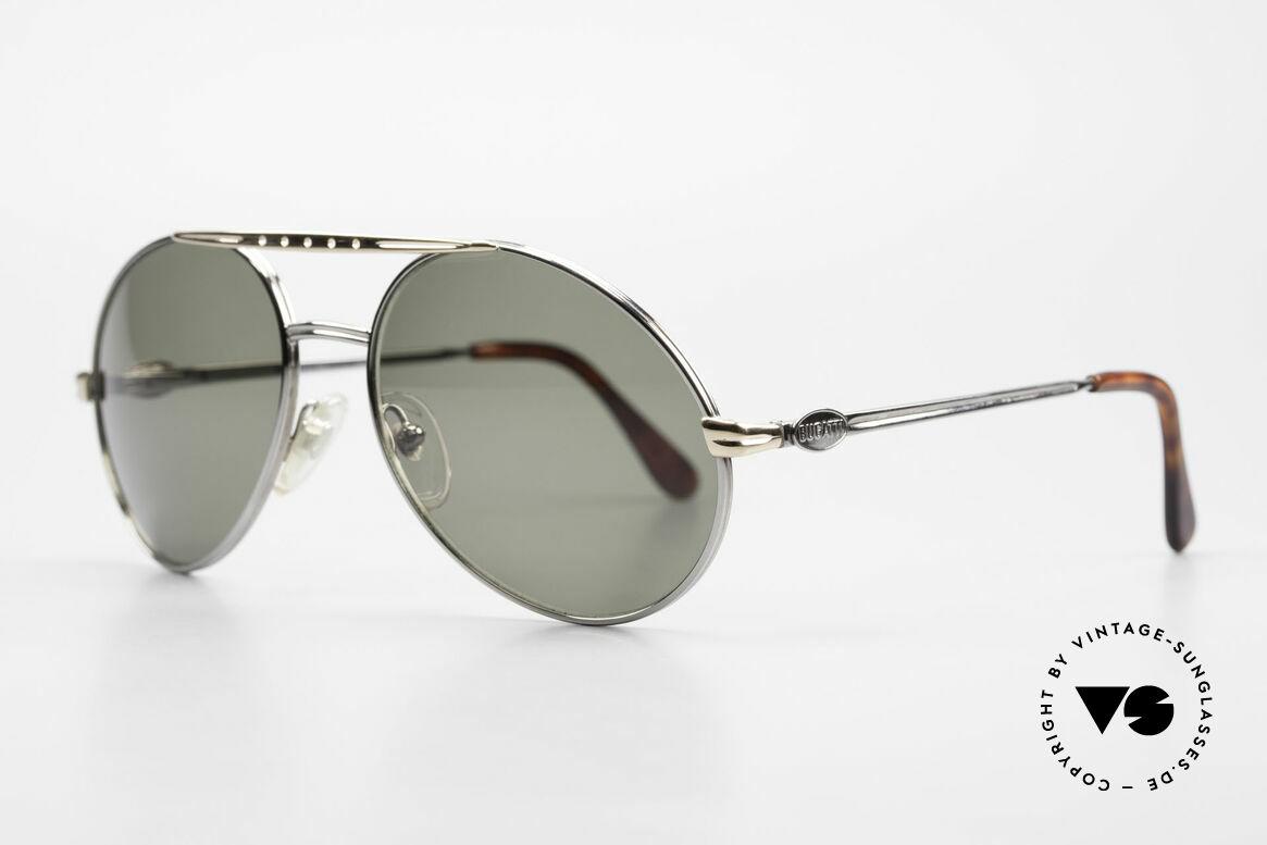 Bugatti 02926 80er Large Sonnenbrille Herren, sehr luxuriöse Lackierung (platin mit goldener Brücke), Passend für Herren