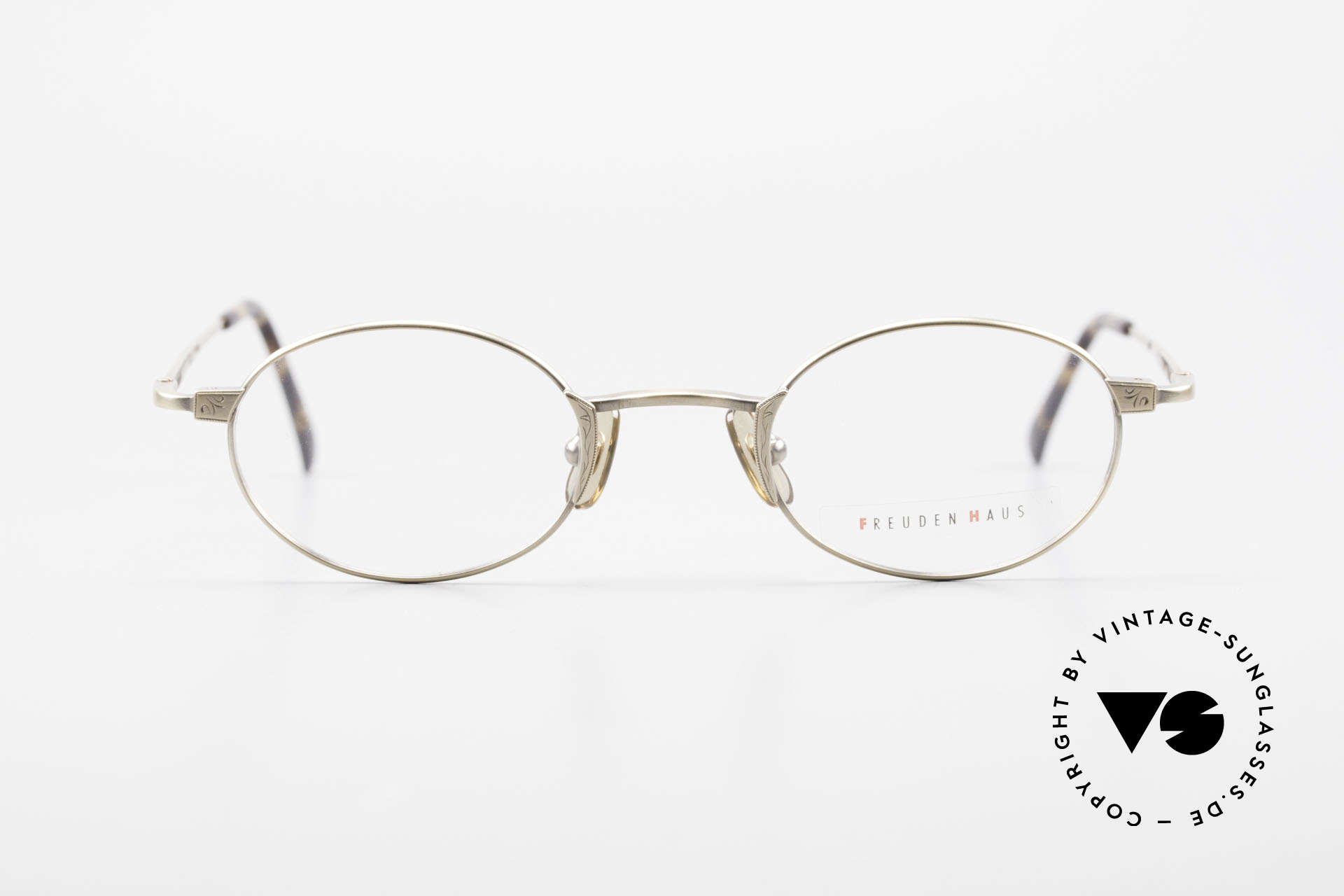 Freudenhaus Zaki Ovale Titan Vintage Brille, exzellente Titanium-Fassung & entsprechend leicht, Passend für Herren und Damen