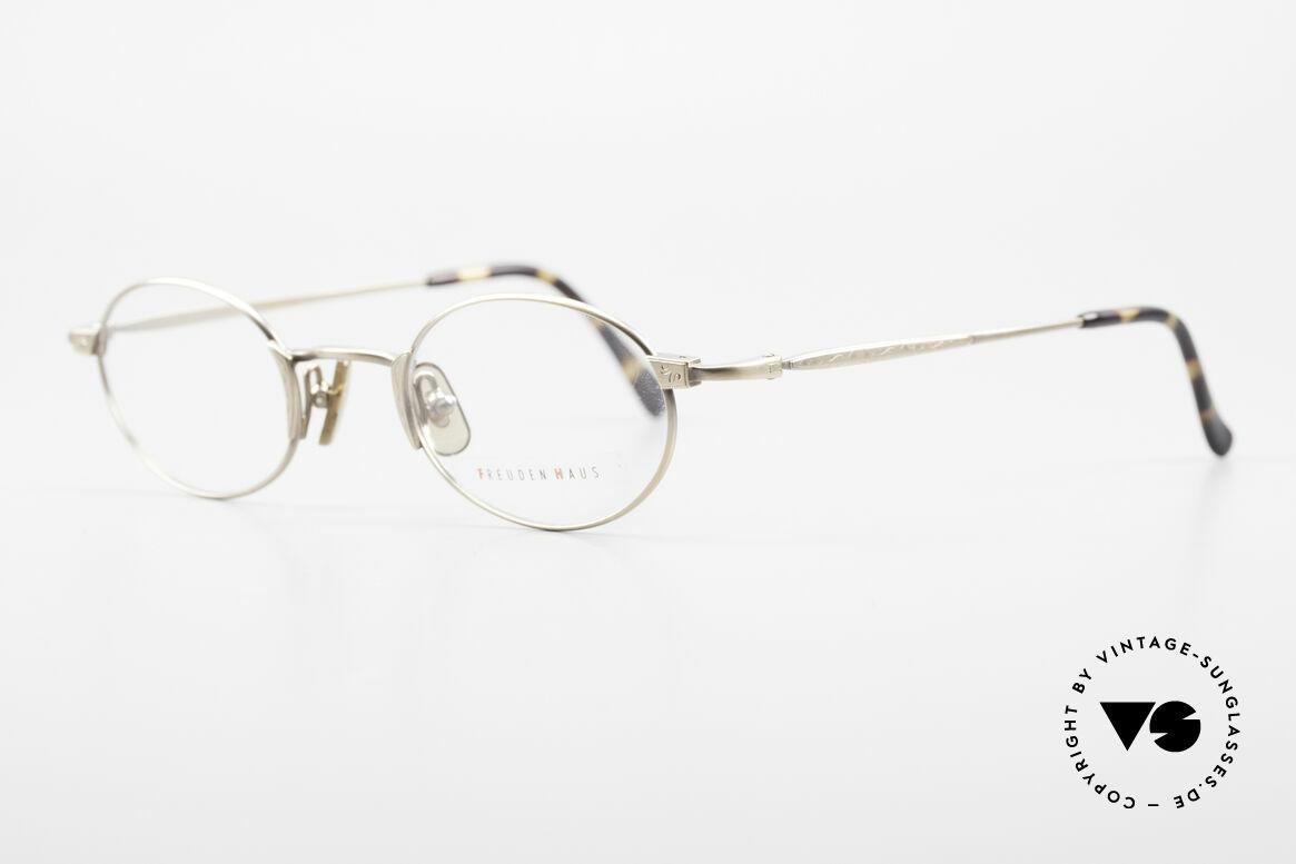 Freudenhaus Zaki Ovale Titan Vintage Brille, edle Metallic-Lackierung in antik-gold / antik-metall, Passend für Herren und Damen