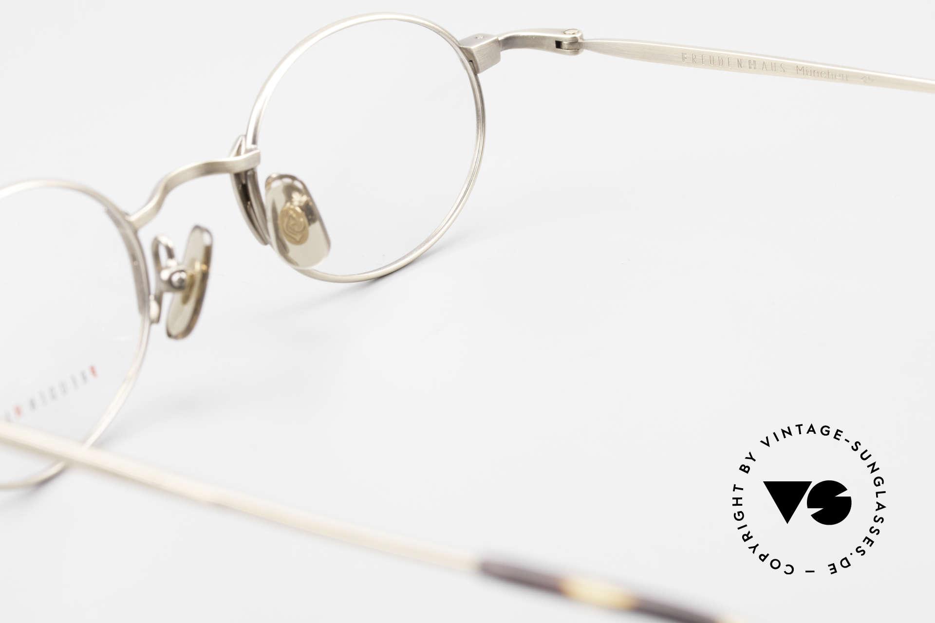 Freudenhaus Zaki Ovale Titan Vintage Brille, die Fassung ist beliebig verglasbar (optisch / Sonne), Passend für Herren und Damen