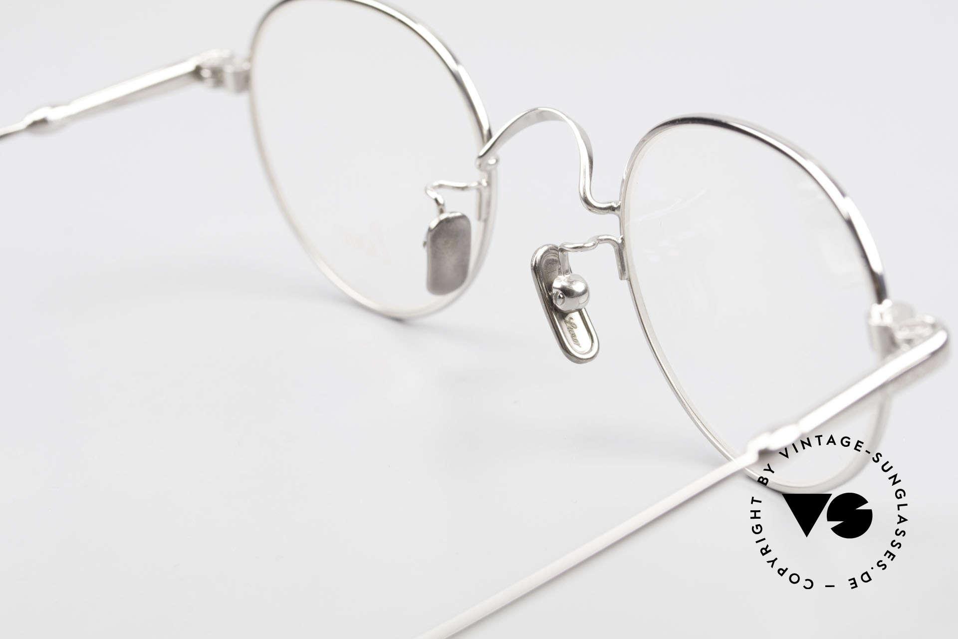 Lunor V 107 Pantobrille Herren Titanium, natürlich ungetragen und mit den Titan-Nasenpads, Passend für Herren