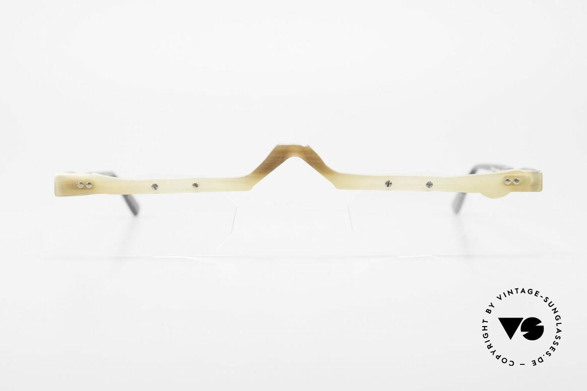 Theo Belgium Eye-Witness ACR Avantgarde Brille aus Horn, 1989 gegründet als GEGENPOL zum üblich 'Mainstream', Passend für Herren und Damen