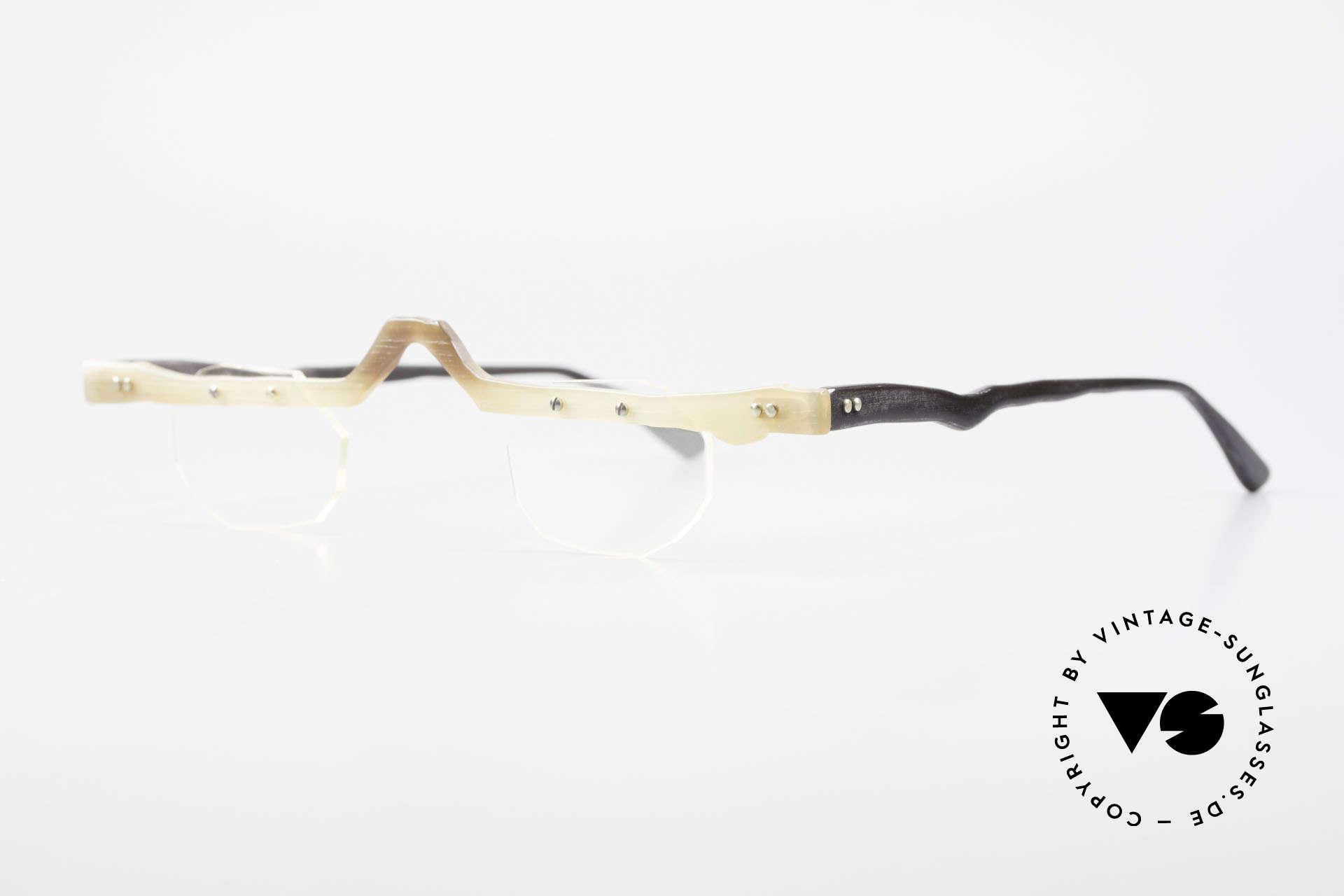 Theo Belgium Eye-Witness ACR Avantgarde Brille aus Horn, damals gemacht für die 'Avantgarde' und Individualisten, Passend für Herren und Damen