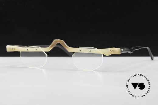 Theo Belgium Eye-Witness ACR Avantgarde Brille aus Horn, ungetragenes Theo-Einzelstück für die, die sich trauen ;), Passend für Herren und Damen