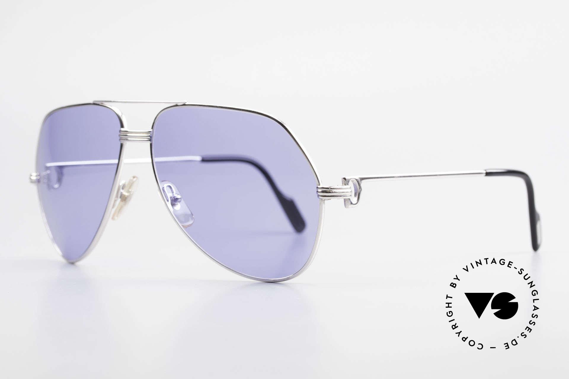 Cartier Vendome LC - L Sonderanfertigung Einzelstück, komplett rhodiniert (versilbert) mit blauen Sonnengläsern, Passend für Herren