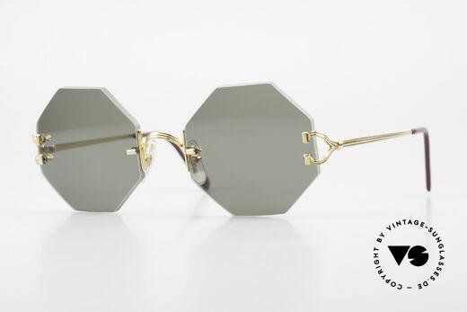 Cartier Rimless Octag Achteckige Sonnenbrille 90er Details