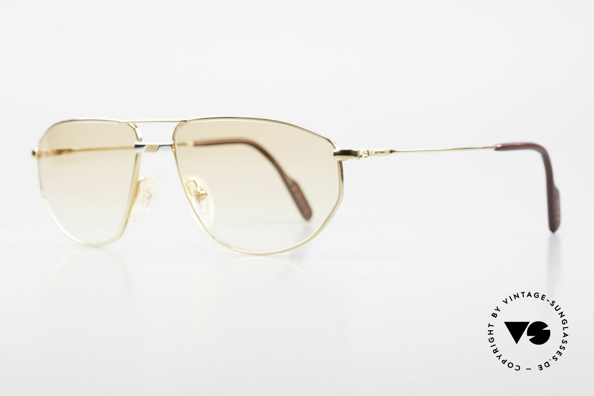 Alpina FM41 Stylische 80er Sonnenbrille, vergoldete Metall-Fassung mit versilberter Brücke, Passend für Herren und Damen