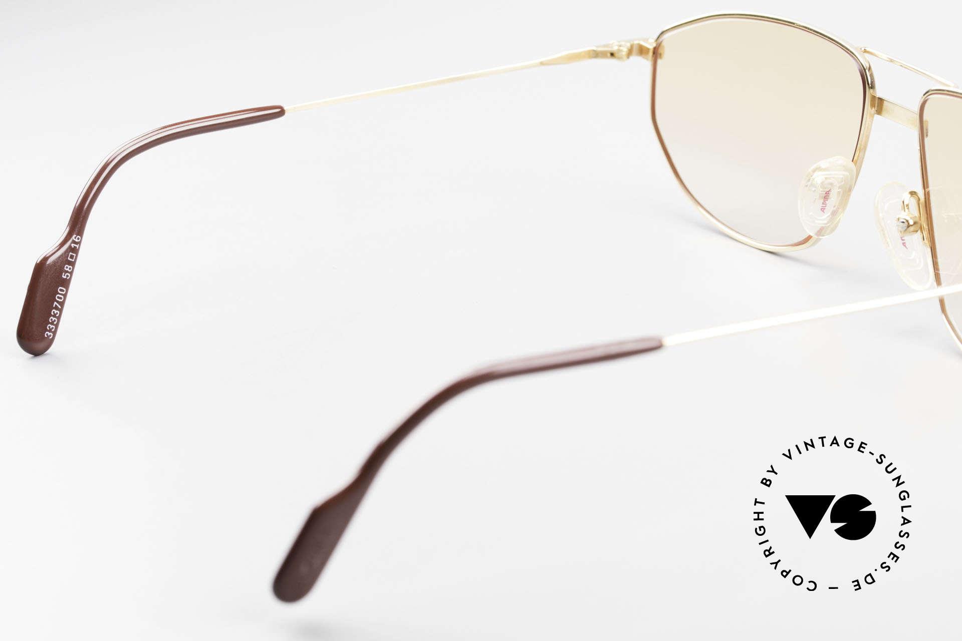 Alpina FM41 Stylische 80er Sonnenbrille, Sonnengläser orange-Verlauf (auch abends tragbar), Passend für Herren und Damen