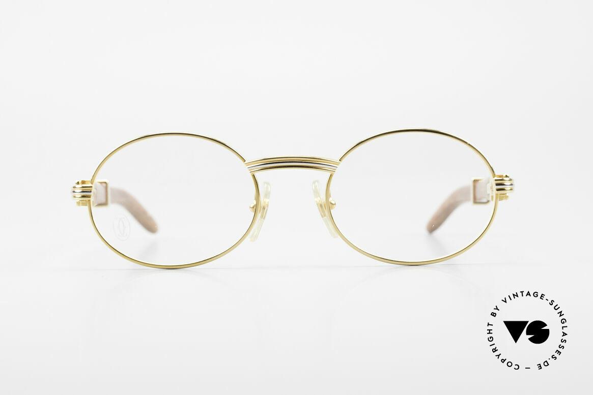 Cartier Giverny Ovale Holzbrille Vergoldet, außergewöhnliche CARTIER vintage Luxus-Brille, Passend für Herren und Damen