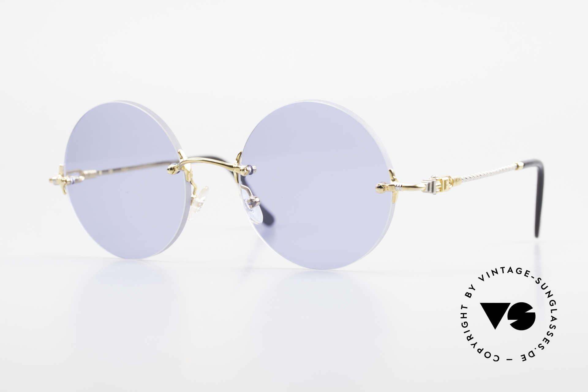 Fred Fidji Luxus Brille Rund Randlos 90er, runde, randlose Fred Luxussonnenbrille aus den 90ern, Passend für Herren