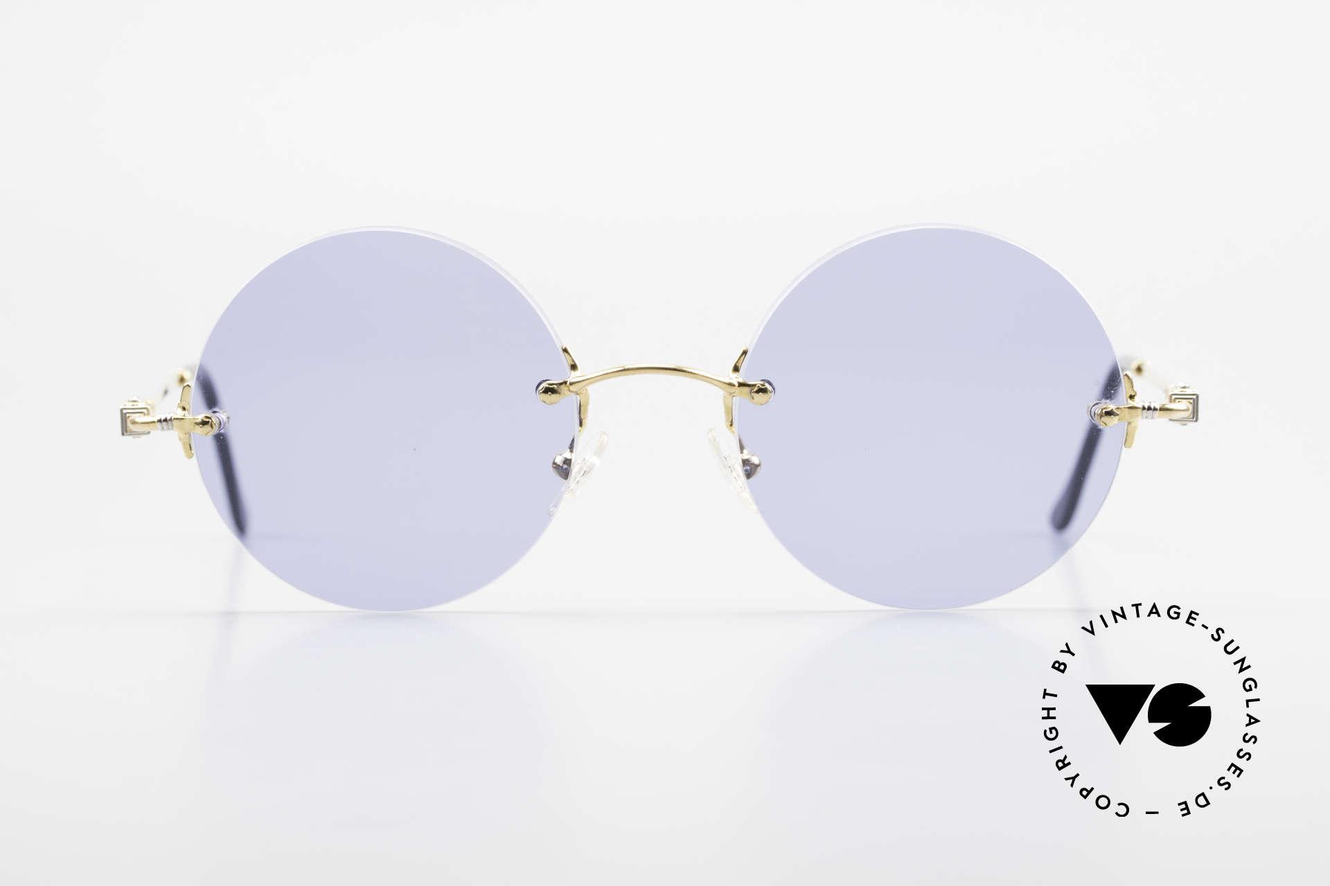 Fred Fidji Luxus Brille Rund Randlos 90er, marines Design (charakteristisch Fred) in Top-Qualität, Passend für Herren