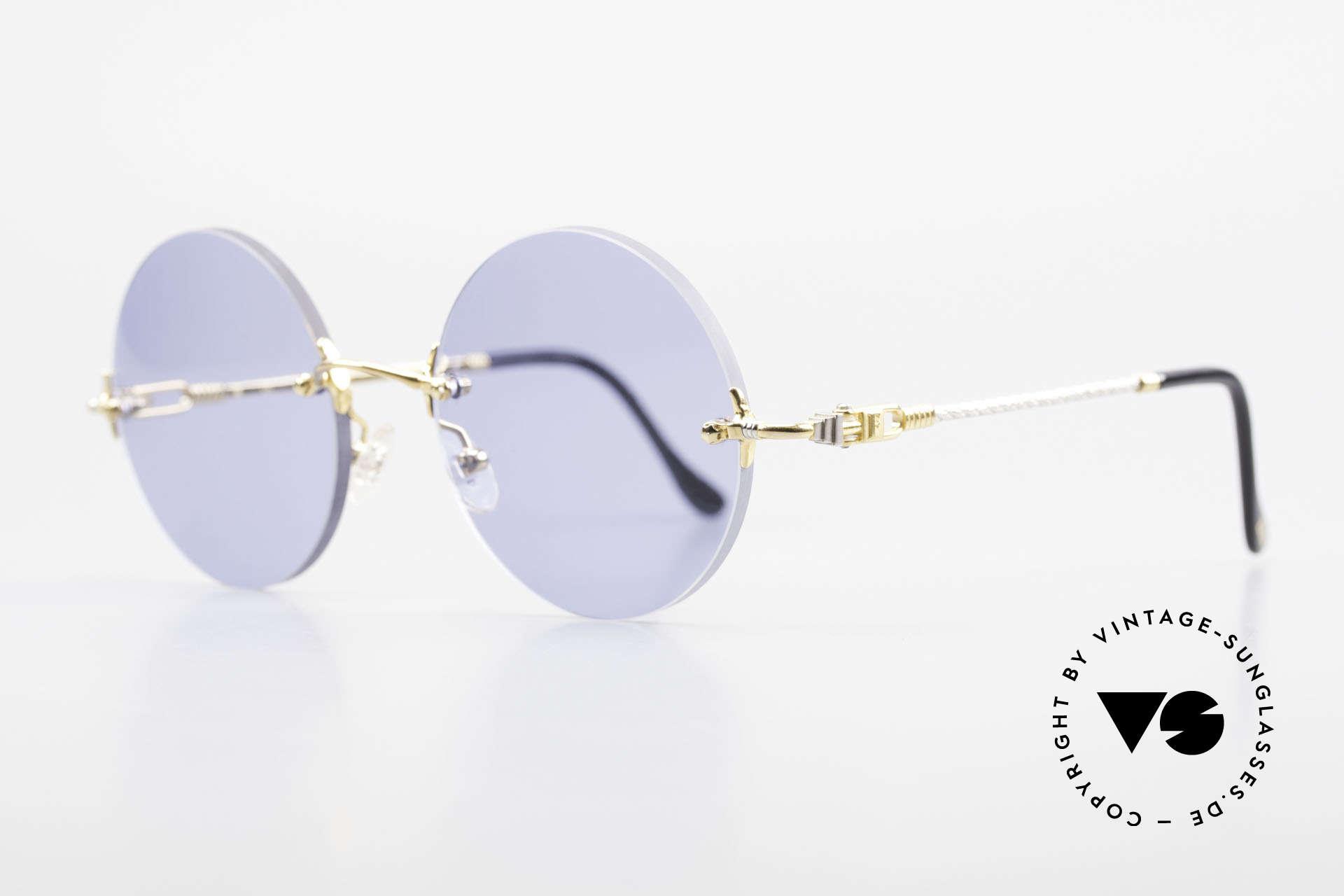 Fred Fidji Luxus Brille Rund Randlos 90er, Modell benannt nach den Fidschi Inseln im Südpazifik, Passend für Herren