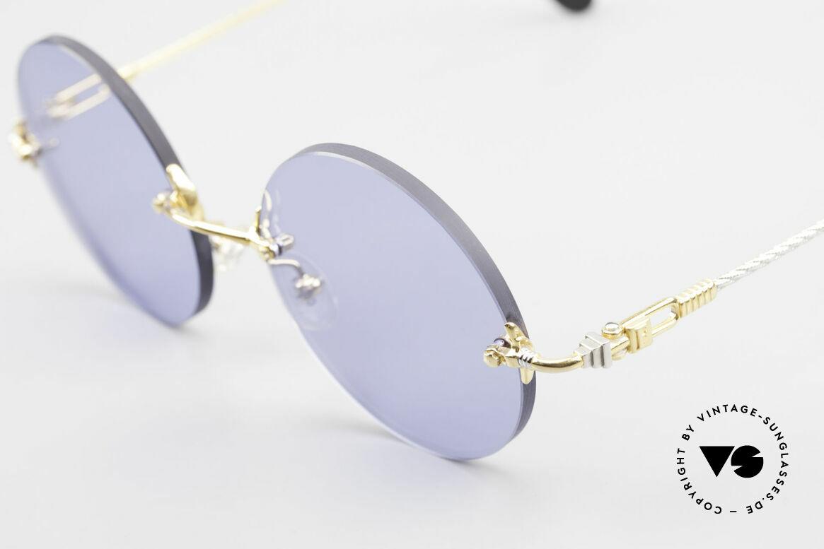 Fred Fidji Luxus Brille Rund Randlos 90er, Bügel sind gedreht wie ein Segeltau; MUSS für Segler!, Passend für Herren