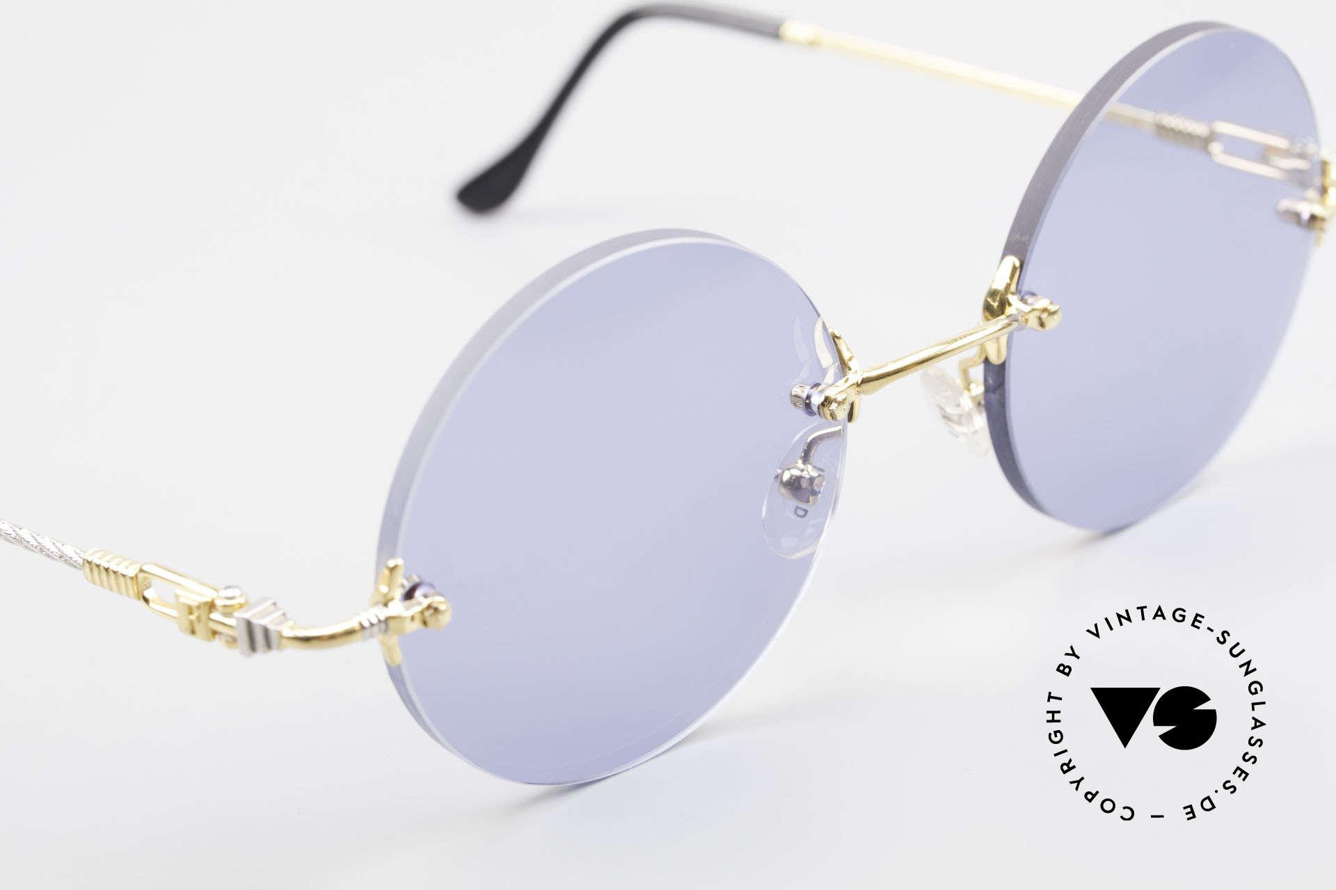 Fred Fidji Luxus Brille Rund Randlos 90er, Sonderanfertigung: werden Sie sonst nirgendwo finden!, Passend für Herren