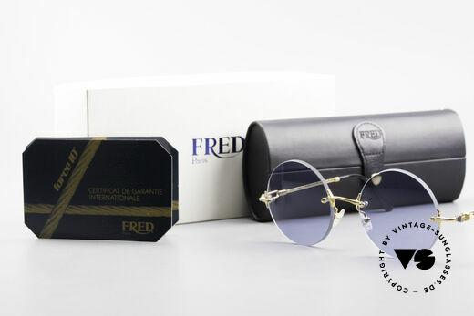 Fred Fidji Luxus Brille Rund Randlos 90er, Größe: large, Passend für Herren