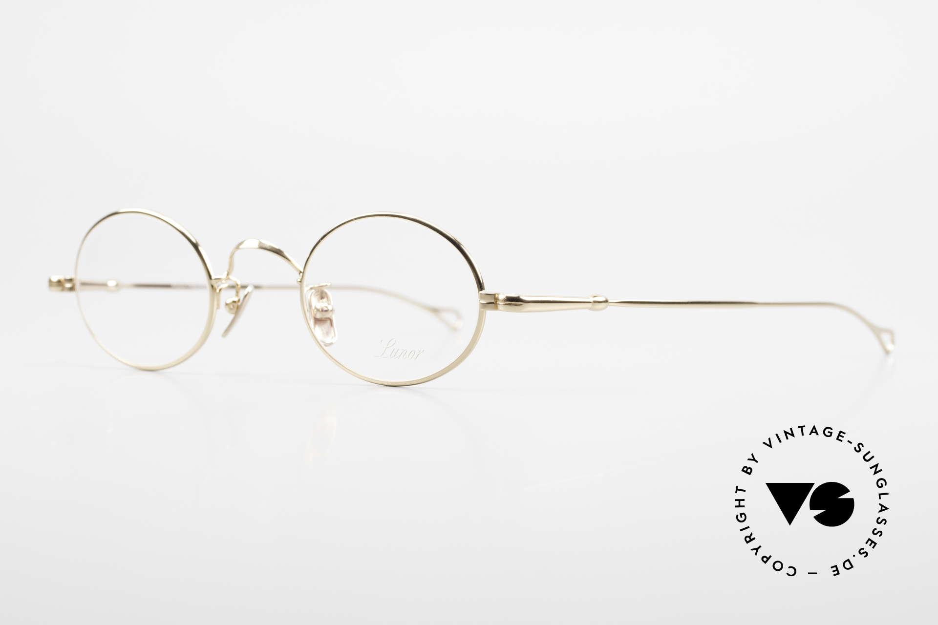Lunor V 100 Ovale Brille 22kt Vergoldet, Modell V 100: zeitlose, ovale Brillenform (Unisex), Passend für Herren und Damen