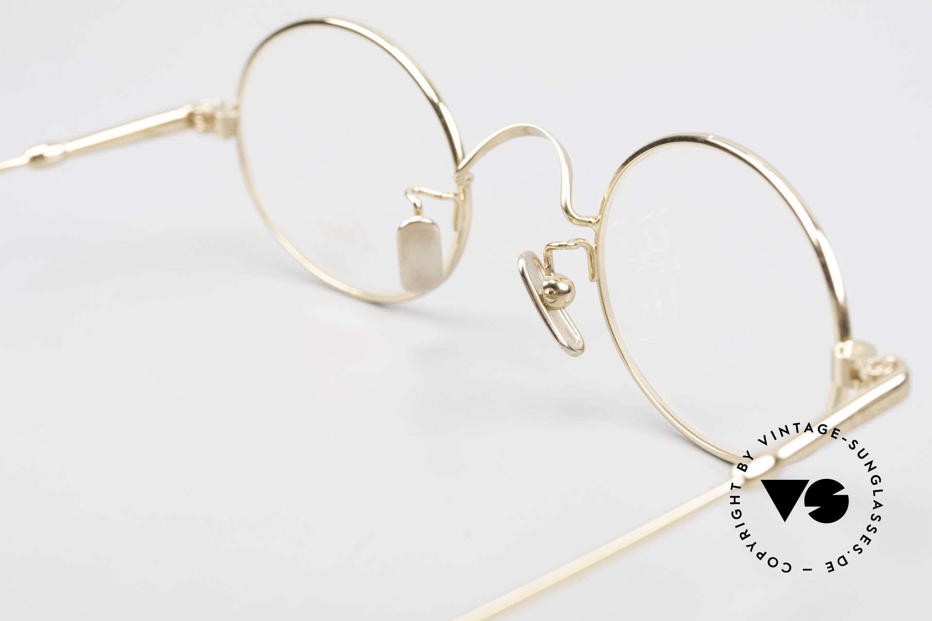 Lunor V 100 Ovale Brille 22kt Vergoldet, natürlich ungetragen und mit den Titan-Nasenpads, Passend für Herren und Damen