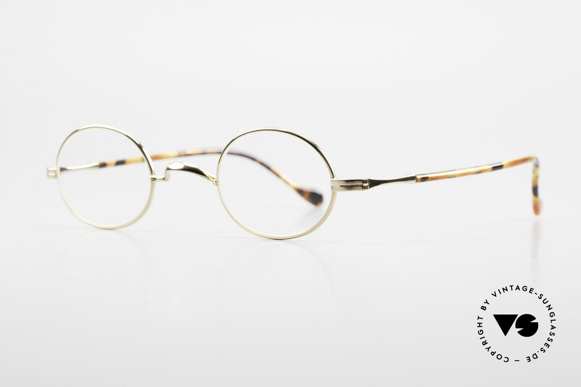 Lunor II A 10 Ovale Vintage Brille Vergoldet, Brillendesign in Anlehnung an frühere Jahrhunderte, Passend für Herren und Damen