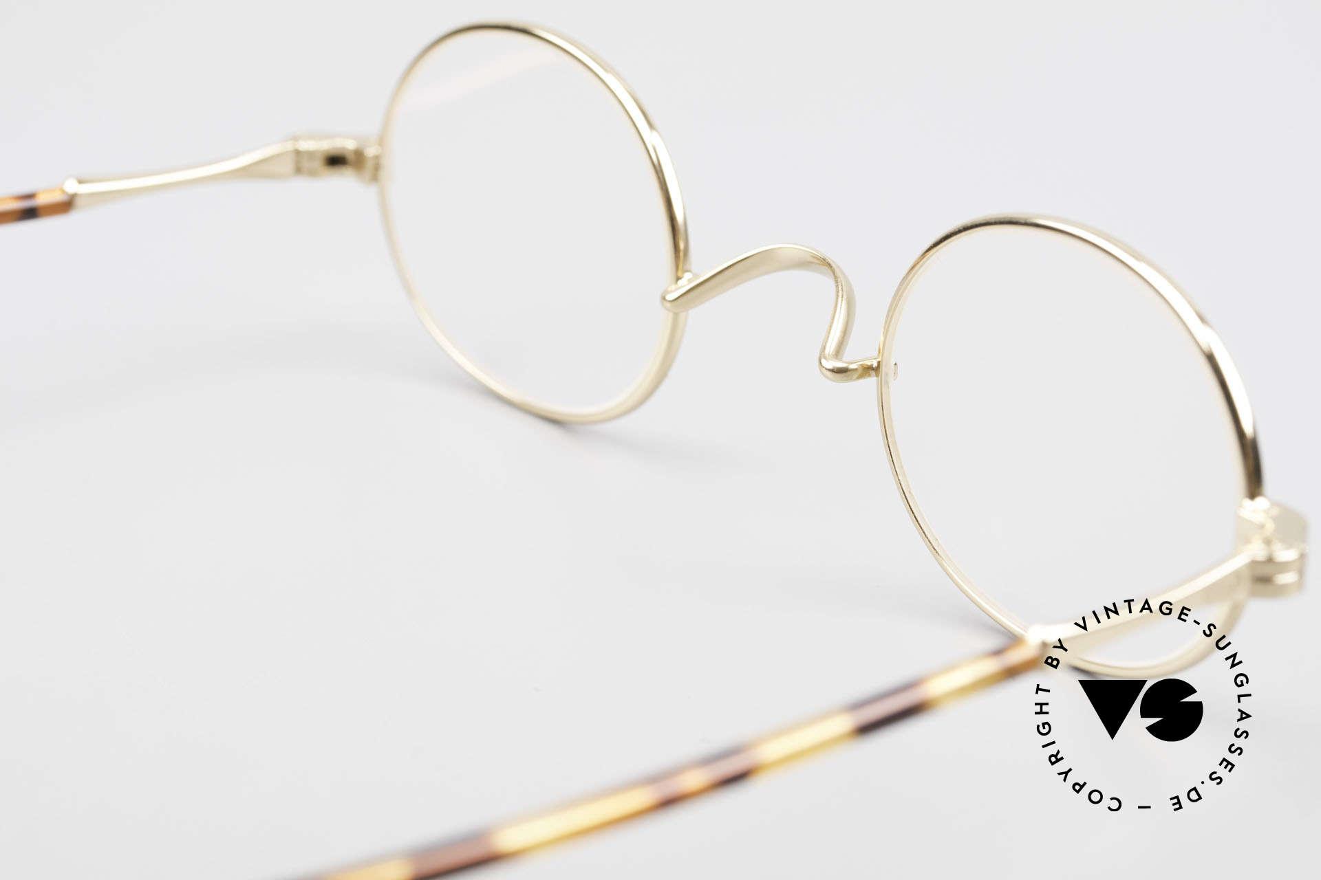 Lunor II A 10 Ovale Vintage Brille Vergoldet, ovale, vergoldete Metall-Fassung mit Acetat-Bügeln, Passend für Herren und Damen